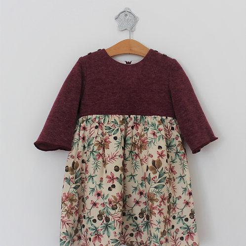 Vestido com malha Flores de Outono