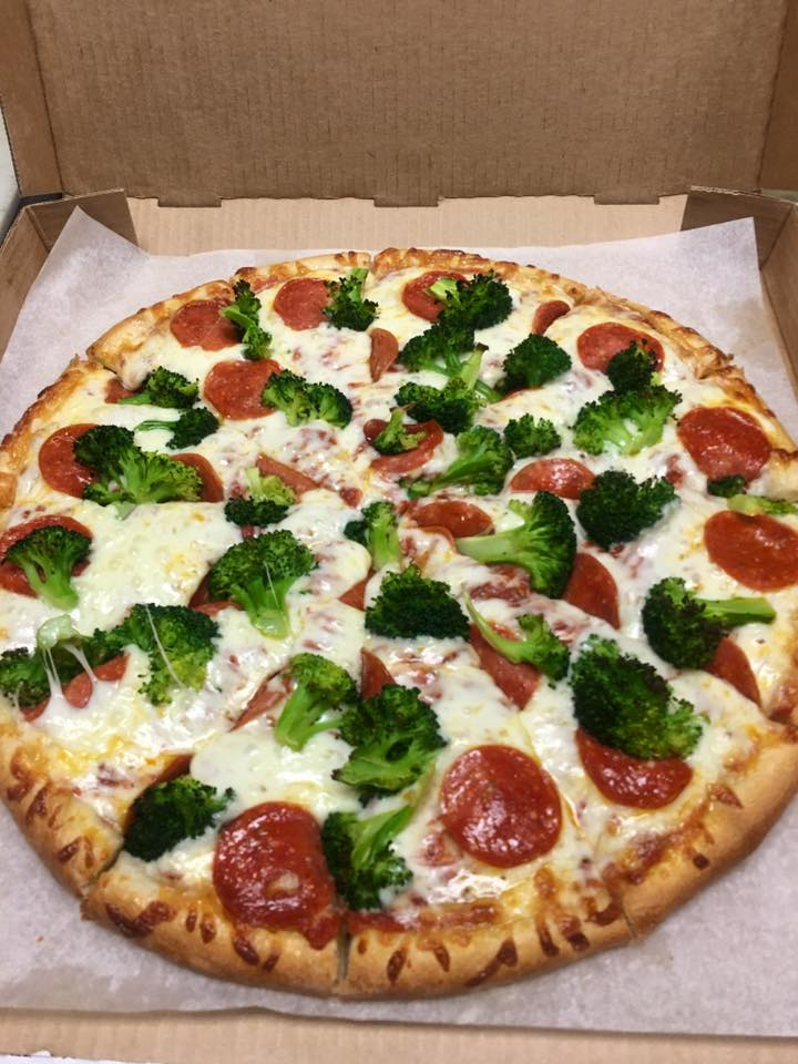 Broccoli and Pepperoni Pizza