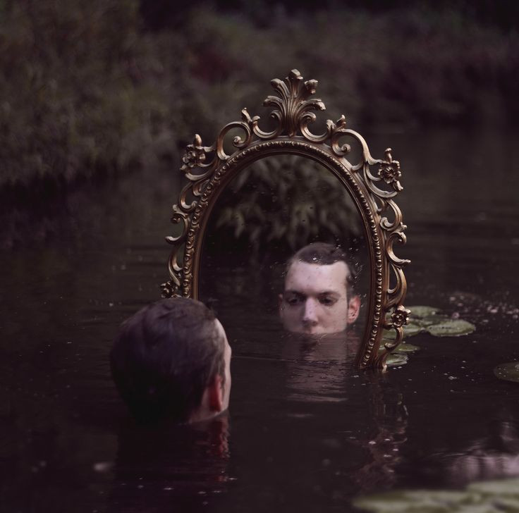 man in water, mirror, reflection