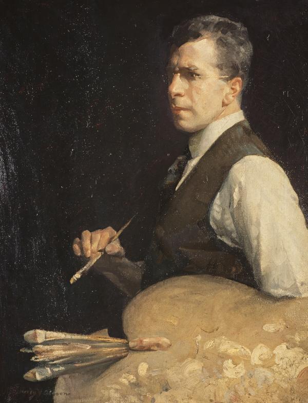 man with paints, artist self-portrait