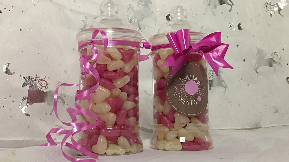 Victorian style sweetie jar with a jelly heart mix