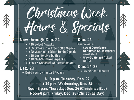 Christmas Week Hours & Specials
