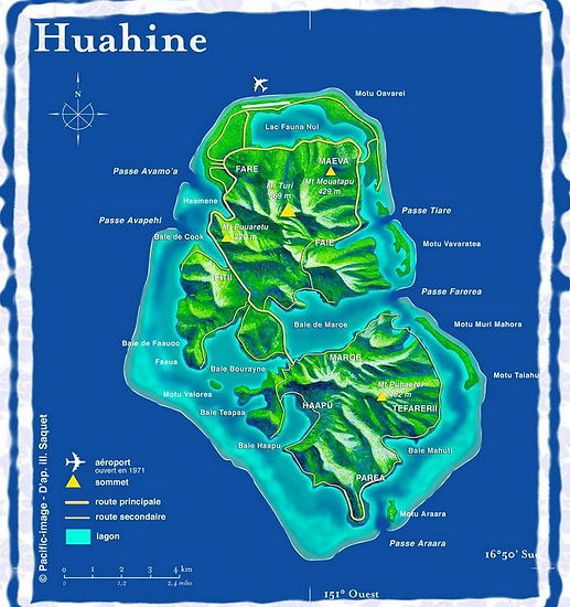 Carte de Huahine Dream Tours
