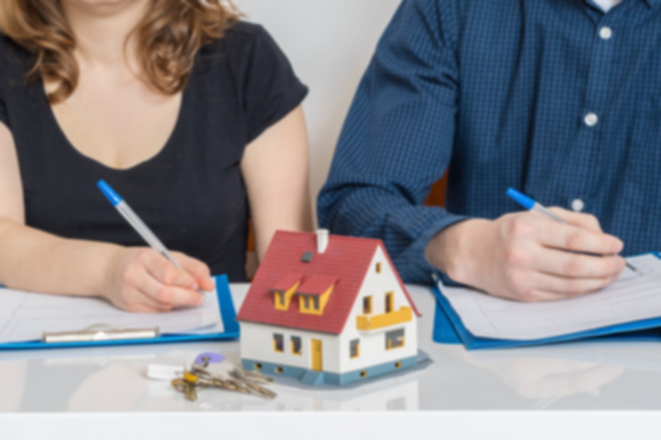 Divorce and dividing a property concept.