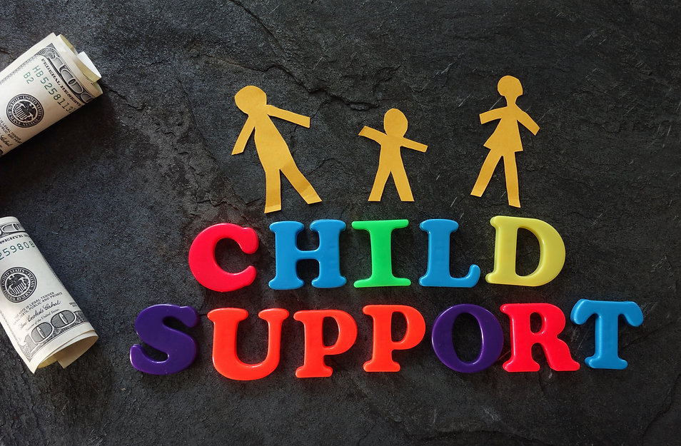 Paper family with Child Support letters