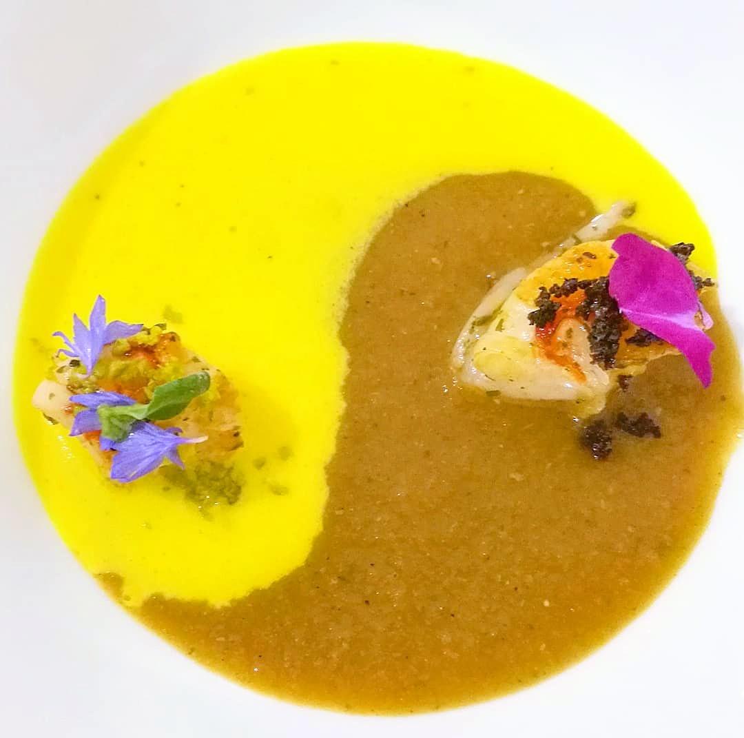 Gambero - Zafferano - Ristretto crostacei - Olive - Pistacchio