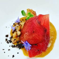 Gambero - Ristretto crostacei - Cipolla rossa - Barbabietola - Terra d'olive