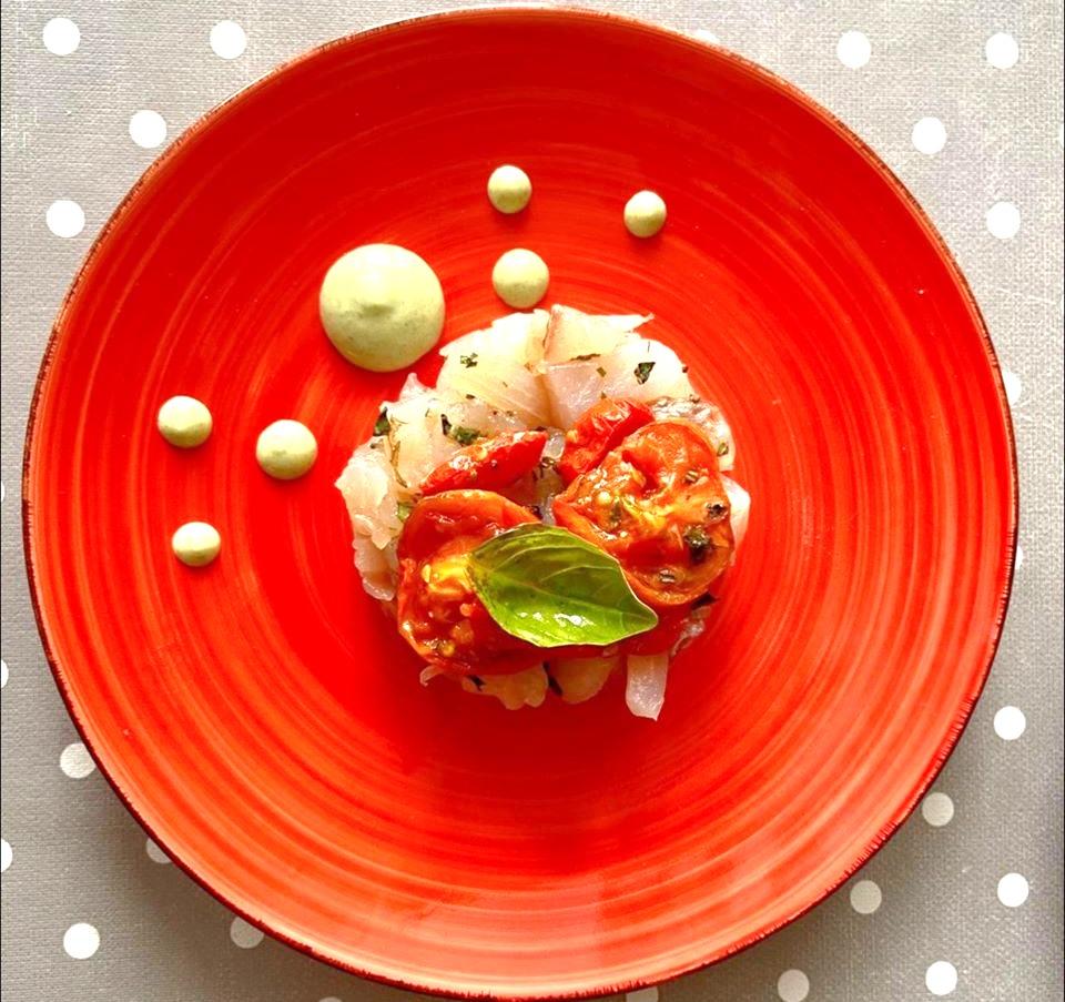 Branzino marinato - Pomodorini semi secchi - Pistacchio siciliano