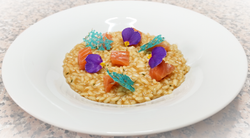 Risotto Carnaroli - Brodo di gambero - Salmone marinato al whiskey - Corallo al rosmarino