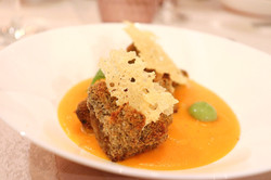 Funghi fritti - Crema di zucca e zenzero - Chips di Parmigiano - Menta
