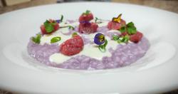 Risotto Arborio - Cavolo viola - Salsiccia di vitello - Toma - Cipollotto