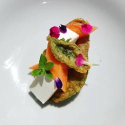 Salvia fritta - Melone - Robiola di capra - Origano