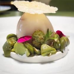Uovo marinato - Fave fresche - Ricotta di pecora