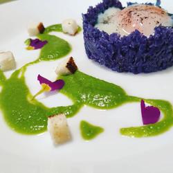 Uovo fondente - Cavolo viola - Piselli
