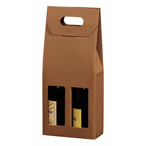 Vinkarton til 2 flasker brun