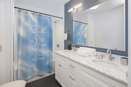 """""""Faith Hope Love"""" Shower Curtains"""
