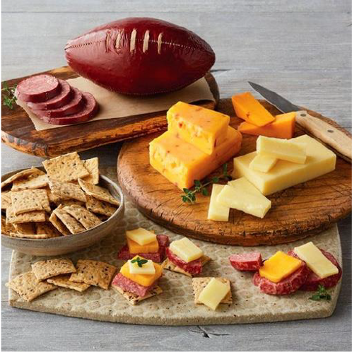 Savory Song Basket (Singagram and Football Sausage and Cheese Gift)
