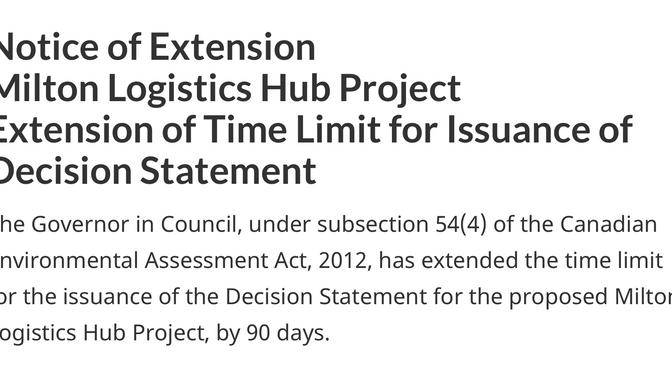 90 day extended time limit for issuance of the Decision Statement