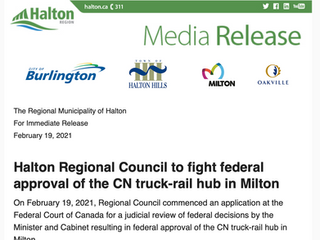 Halton Regional Council to fight federal approval of the CN truck-rail hub in Milton