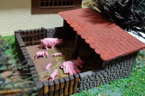 OO scale - Pig Pen - Stone and timber design, choice of roofing.