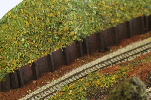N Scale wooden Retaining Wall. 200mm x 10mm. Sheet. over 1200mm longsee details.
