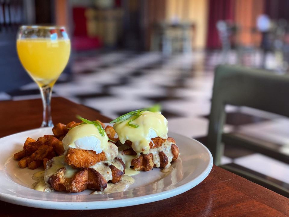 Chicken and Waffles Benedict