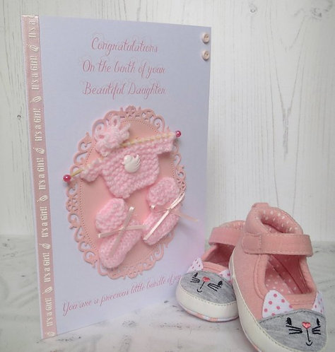 Hand Knitted New Baby Girl Card