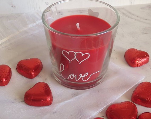 Decorated Red Love Candle Glass Jar with Candle