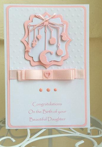 New baby girl mobile handmade card