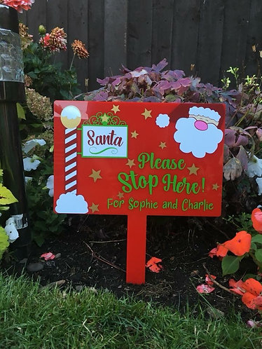 Extra Large Personalised Santa Please Stop Here Sign!