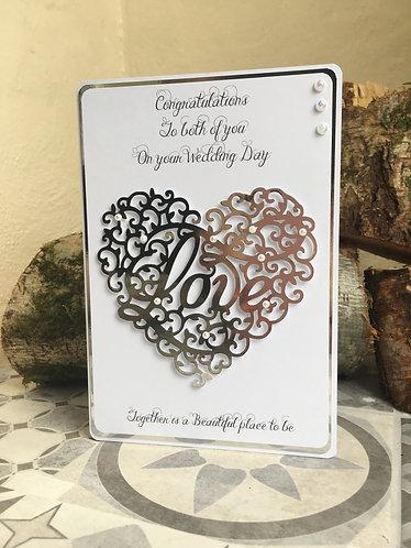 Wedding Day Silver heart card