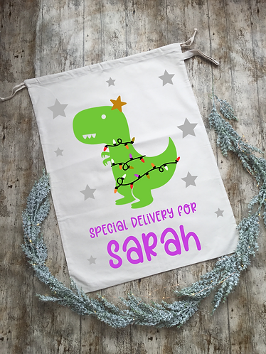 Extra Large Personalised Dinosaur Santa Sack/Present Sack