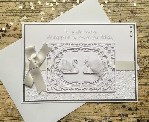 Luxury Personalised Swans Female Birthday card
