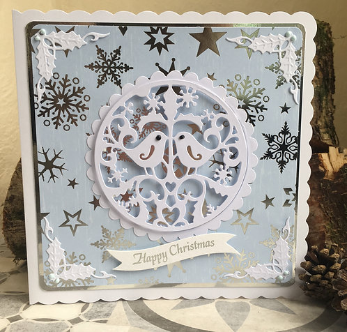 Turtle Doves Blue Christmas Card