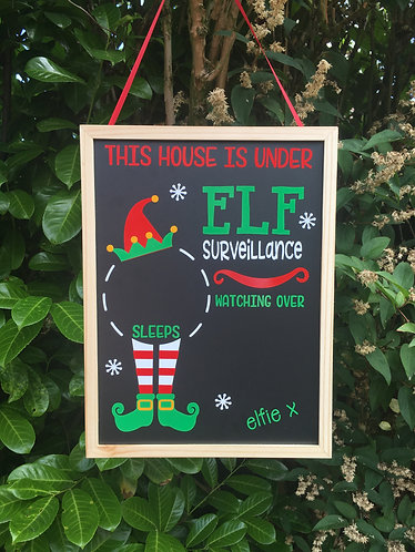 Large Personalised Elf Surveillance Christmas Countdown Chalkboard