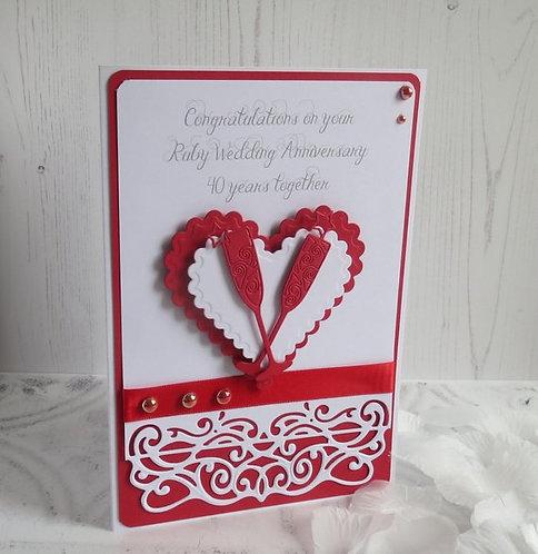 Handmade Ruby 40 Years Wedding Anniversary Card
