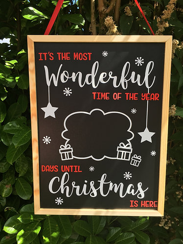 Large Christmas Wonderful Time Countdown Chalkboard