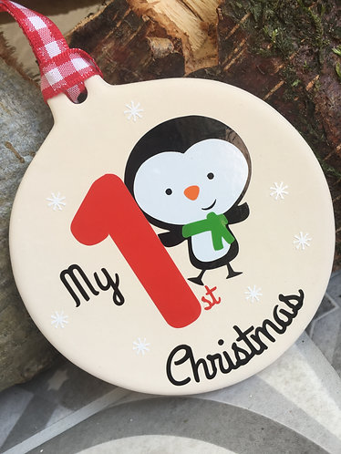 My First Christmas Penguin Bauble