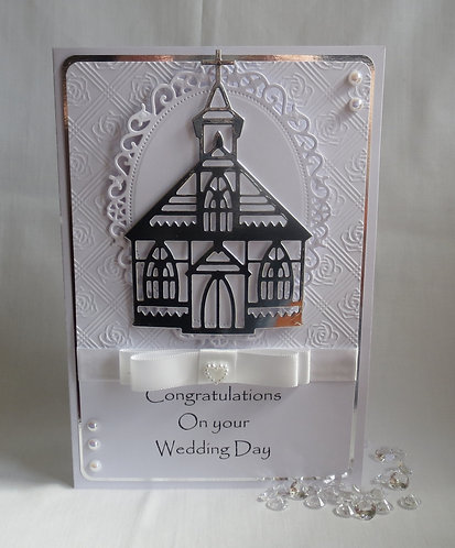 Luxury Mirror Church Wedding Card