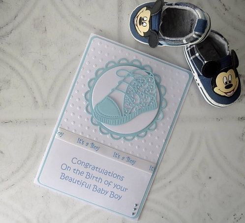 Blue New Baby Shoe Arrival Card