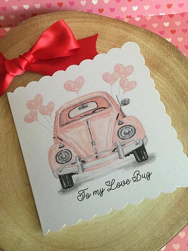 Love bug valentines handmade card
