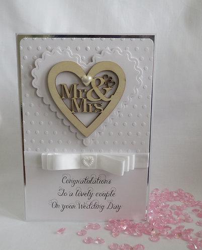 Luxury Wooden Heart Wedding Card