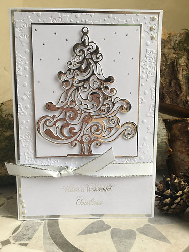 Silver Embossed Classic Christmas Tree Card
