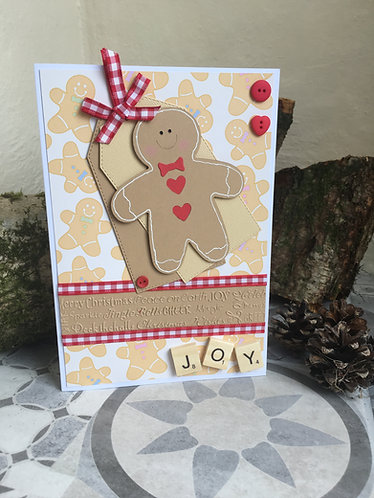 Gingerbread Man Joy Christmas Card