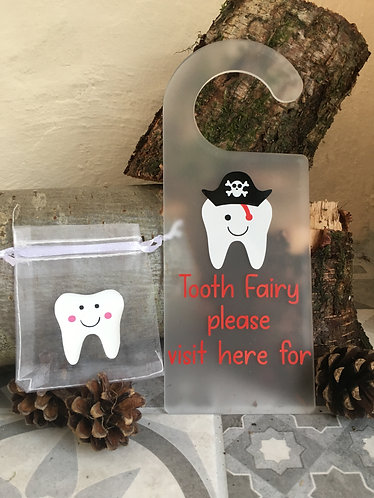 Personalised Acrylic Pirate Tooth Fairy Door Hanger & Tooth Bag