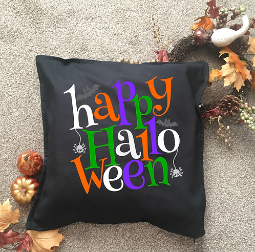 Happy Halloween Spider and Bat Cushion Cover