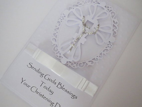 Luxury Christening Rosary Card