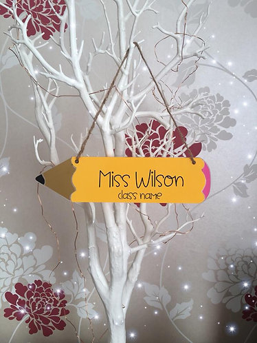 Personalised Teacher Hanging Pencil Sign