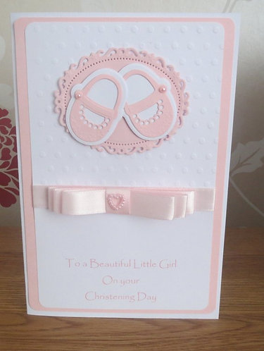 Christening Pink Baby Girl Baby Shoe Card