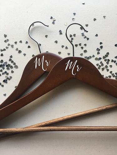 Mr and Mr Hangers, Set of 2, Wooden Hangers